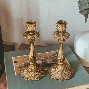 vintage | Set of 2 Brass Scroll Candlestick Holder